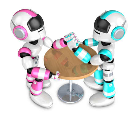 Scientology robot arm wrestling showdown with magenta Robot. Create 3D Humanoid Robot Series. Stock Photo
