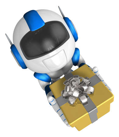 Blue robot character holding a gift with both hands. Create 3D Humanoid Robot Series.