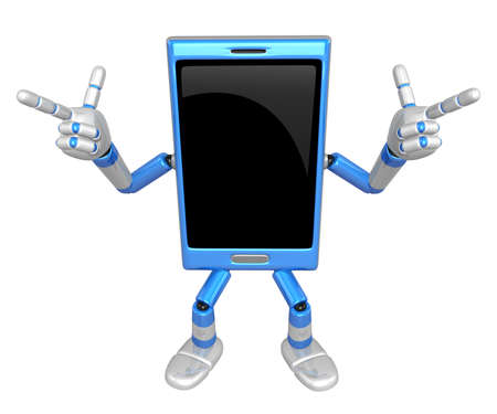 cellularphone: 3D Smart Phone Mascot is taking gestures of Double pistols. 3D Mobile Phone Character Design Series.