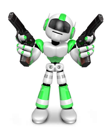 3D Green Robot Mascot holding a Automatic pistol with both hands. Create 3D Humanoid Robot Series.