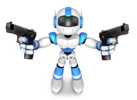 3 D 青いロボット マスコット自動を保持は、両手でピストルします。3 D ロボット シリーズを作成します。