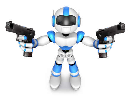 3D Blue Robot Mascot holding a Automatic pistol with both hands. Create 3D Humanoid Robot Series.