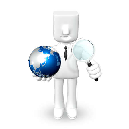 one 3d business man holding a globe with magnifier