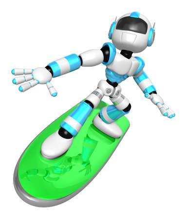 3D Cyaan-robot rijdt op een surfplank aan de linkerkant. Maak 3D Humanoid Robot Series.