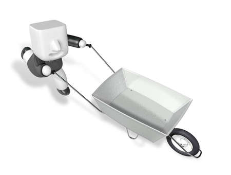 traction: 3D Business man Mascot handcart. 3D Square Man Series.