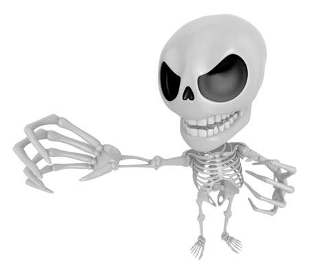 3D Skeleton Mascot is scaring the daylight out of somebody. 3D Skull Character Design Series.