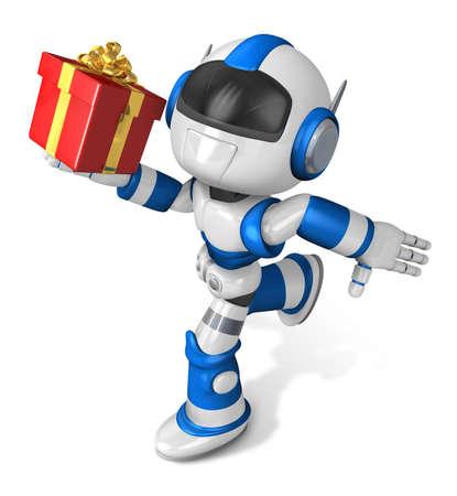 Blue robot holding a big gift running. Create 3D Humanoid Robot Series.