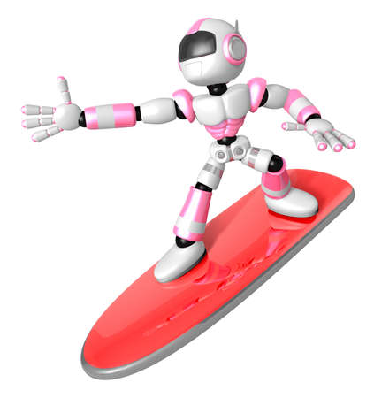 3D Pink robot is riding a surf board to the left. Create 3D Humanoid Robot Series.