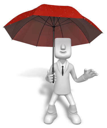 Men to avoid a red umbrella in rain. 3D Business Character