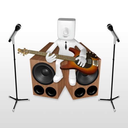 3d business man playing the guitar on the woofer with mike Stock Photo