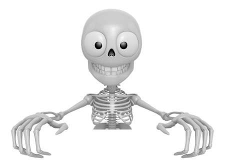 3D Skeleton Mascot holding a big board with both hands. 3D Skull Character Design Series.