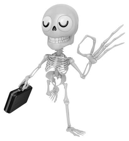 3D Skeleton Mascot the OK gesture. 3D Skull Character Design Series. Stock Photo