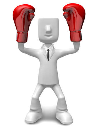 smart goals: Business man taking the victory of Gesture. 3D Sales Man Character Design