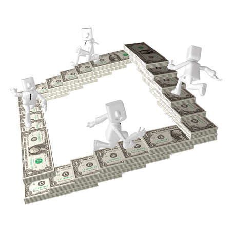 four 3d business man running to climb on money stairs Stock Photo