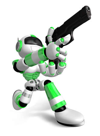 3 D グリーン ロボットは、目的のショットに自動ピストルを発射します。3 D ロボット シリーズを作成します。