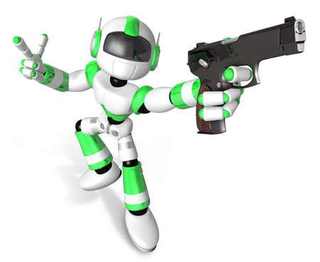 3 D グリーン マスコット ロボットは、自動拳銃ポーズを保持しています。3 D ロボット シリーズを作成します。 写真素材