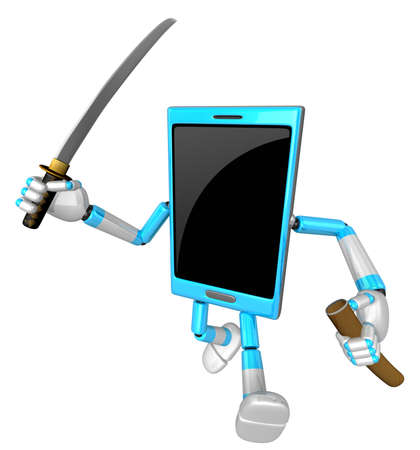 cellularphone: 3D Smart Phone Mascot brandishes a sword with a very sharp blade. 3D Mobile Phone Character Design Series.