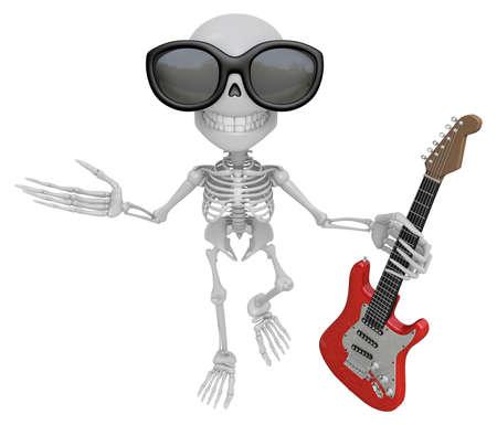 Skelett-Maskottchen 3D Hält Elektrische Gitarre. 3D-Schädel ...