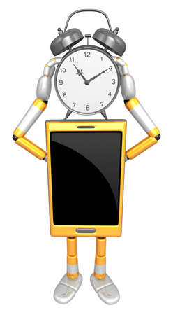 cellularphone: 3D Smart Phone Mascot holding a clock over heads. 3D Mobile Phone Character Design Series.