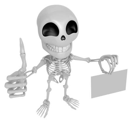 3D Skeleton Mascot the left hand best gesture and right hand is holding a business cards. 3D Skull Character Design Series.