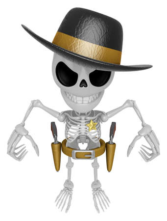 3D Skeleton Mascot is villains taking to pose a gunfight. 3D Skull Character Design Series.