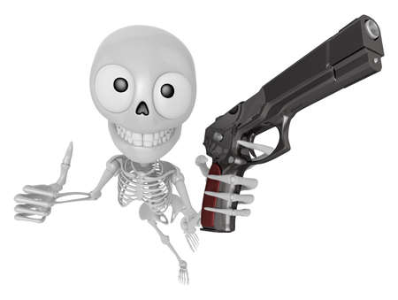 3D Skeleton Mascot is cowboys taking to pose a gunfight. 3D Skull Character Design Series.