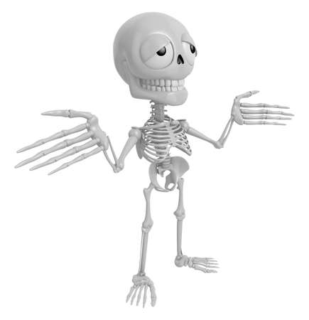 3D Skeleton Mascot is doing not to know gestures. 3D Skull Character Design Series. Stock Photo