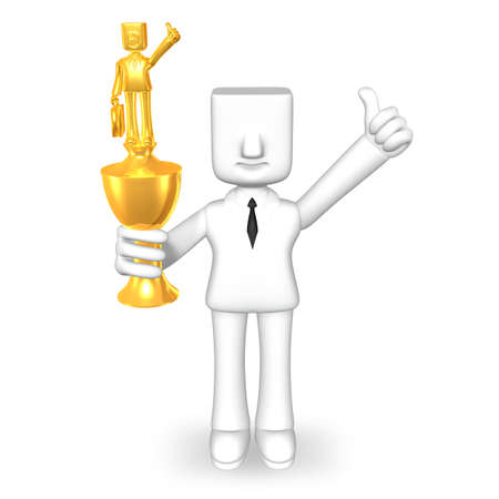 one 3d business man standing with gold trophy Banco de Imagens
