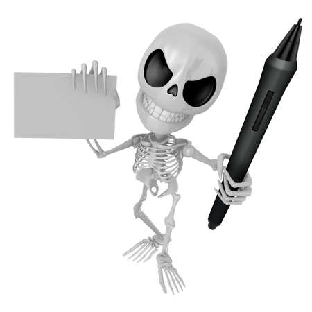 3D Skeleton Mascot is Holding a tablet pen and business card in hand. 3D Skull Character Design Series. Stock Photo