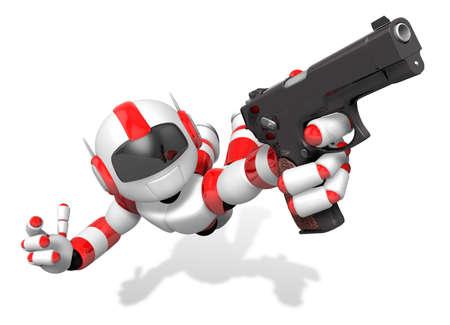 赤い 3 D ロボット自動拳銃を保持しているジャンプします。3 D ロボット シリーズを作成します。
