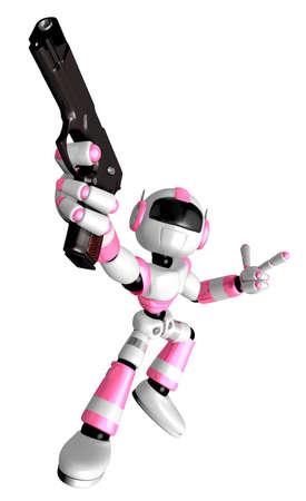 3 D ピンク ロボット マスコットは、撮影ポーズ銃撃戦です。3 D ロボット シリーズを作成します。 写真素材 - 83183289