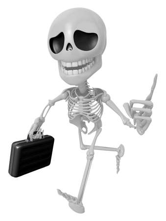 3D Skeleton Mascot is gone to work and holding a briefcase. 3D Skull Character Design Series.