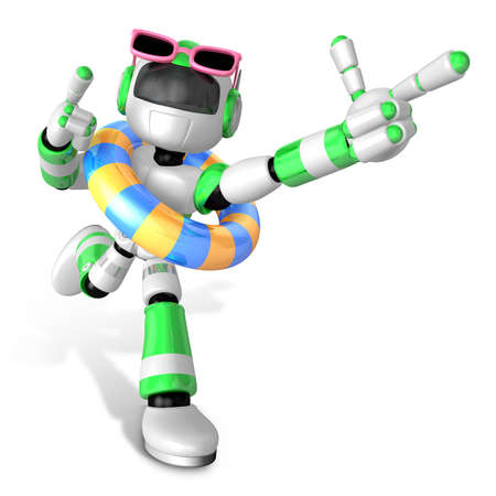 3d Green robot go on a waterside excursion. Create 3D Humanoid Robot Series. Stock Photo