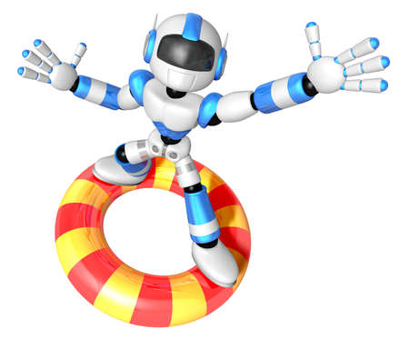 3d Blue robot character surfing on lifebuoy. Create 3D Humanoid Robot Series. Stock Photo