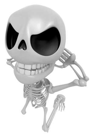 3D Skeleton Maskottchen ist gefangen red-handed. 3D Schädel Charakter Design Serie. Standard-Bild - 83183217