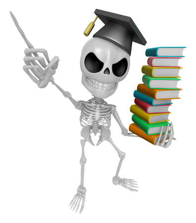 doctorate: 3D Skeleton Mascot is holding a pile of books. 3D Skull Character Design Series. Stock Photo