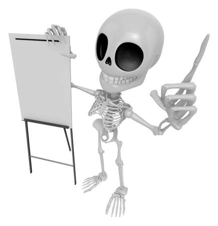briefing: 3D Skeleton Mascot is presentation in front of the a briefing chart. 3D Skull Character Design Series.