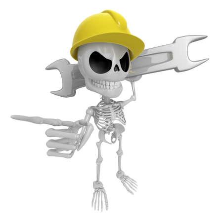 3D Skeleton Mascot is slung the spanner over his shoulders. 3D Skull Character Design Series.