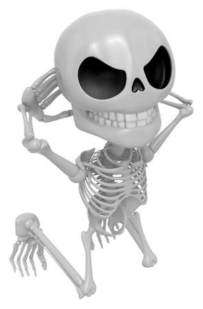 red handed: 3D Skeleton Mascot is caught red-handed. 3D Skull Character Design Series.