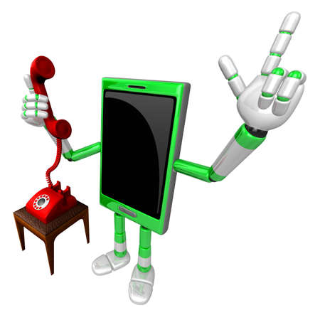 3D Smart Phone Mascot Please call me today. 3D Mobile Phone Character Design Series.