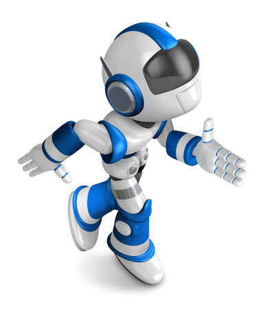 fidelity: Blue robot character is going to front Running. Create 3D Humanoid Robot Series. Stock Photo