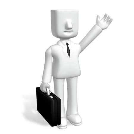 one 3d business man standing with his hand up