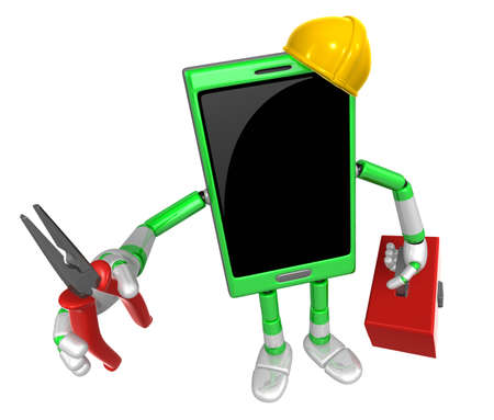 3D Smart Phone Mascot holding a with both Lone Nose and toolbox. 3D Mobile Phone Character Design Series. Stock Photo