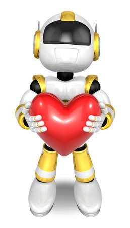 Gold robot Character is holding a heart with both hands. Create 3D Humanoid Robot Series.