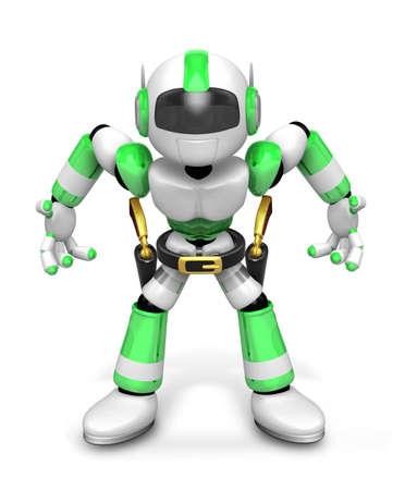 gunman: 3D Green Robot cowboy is taking pose a gunfight. Create 3D Humanoid Robot Series.