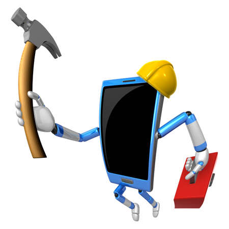 3D Smart Phone Mascot holding a with both hammer and toolbox. 3D Mobile Phone Character Design Series.