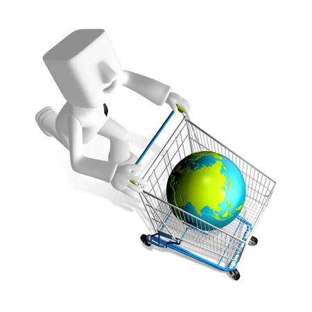 one 3d business man carrying the globe in the shopping cart Banco de Imagens