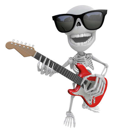 3D Skeleton Mascot is played the guitar with nimble fingers. 3D Skull Character Design Series. Stock Photo
