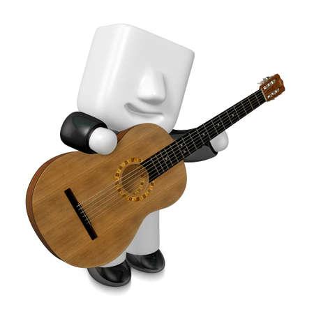 rock guitarist: 3D Business man Mascot playing the guitar. 3D Square Man Series.