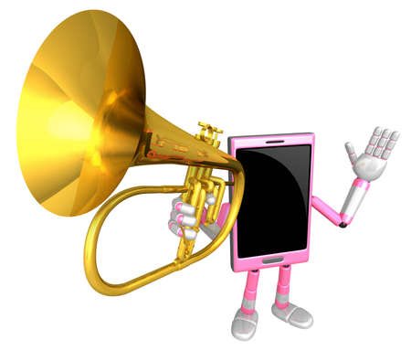 cellularphone: 3D Smart Phone Mascot has to be playing the flugelhorn. 3D Mobile Phone Character Design Series.